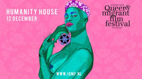 Poster met groene genderqueer persoon tegen roze achtergron, International Queer & Migrant Film Festival
