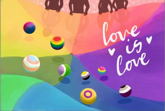 Witte letters love is love tegen een regenboogkleurige achtergron. Ballen in de pride kleuren genderqueer, biseksueel, panseksueel, aseksueel, intersekse, nonbinary, transgender en homo/lesbisch stuiteren door het beeld.