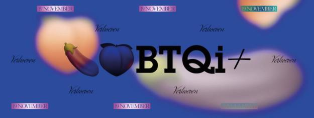 Verhoeven doet Buurtonderzoek: de letters van de titel van de voorstelling, LHBTQi+, staan tegen een wolkenlucht geplaatst. Er zitten emoticons in verwerkt die staat voor genitalia van alle genders.